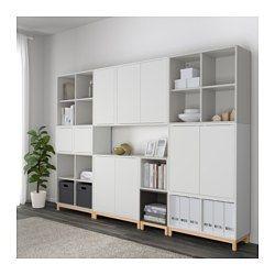 EKET Schrankkombination/Untergestell, weiß/hellgrau, dunkelgrau - weiß/hellgrau/dunkelgrau - IKEA
