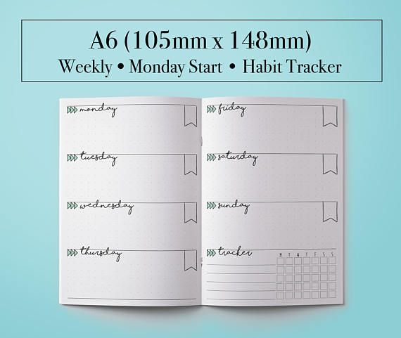 A Planner Insert A Planner Printable A Tracker A Weekly