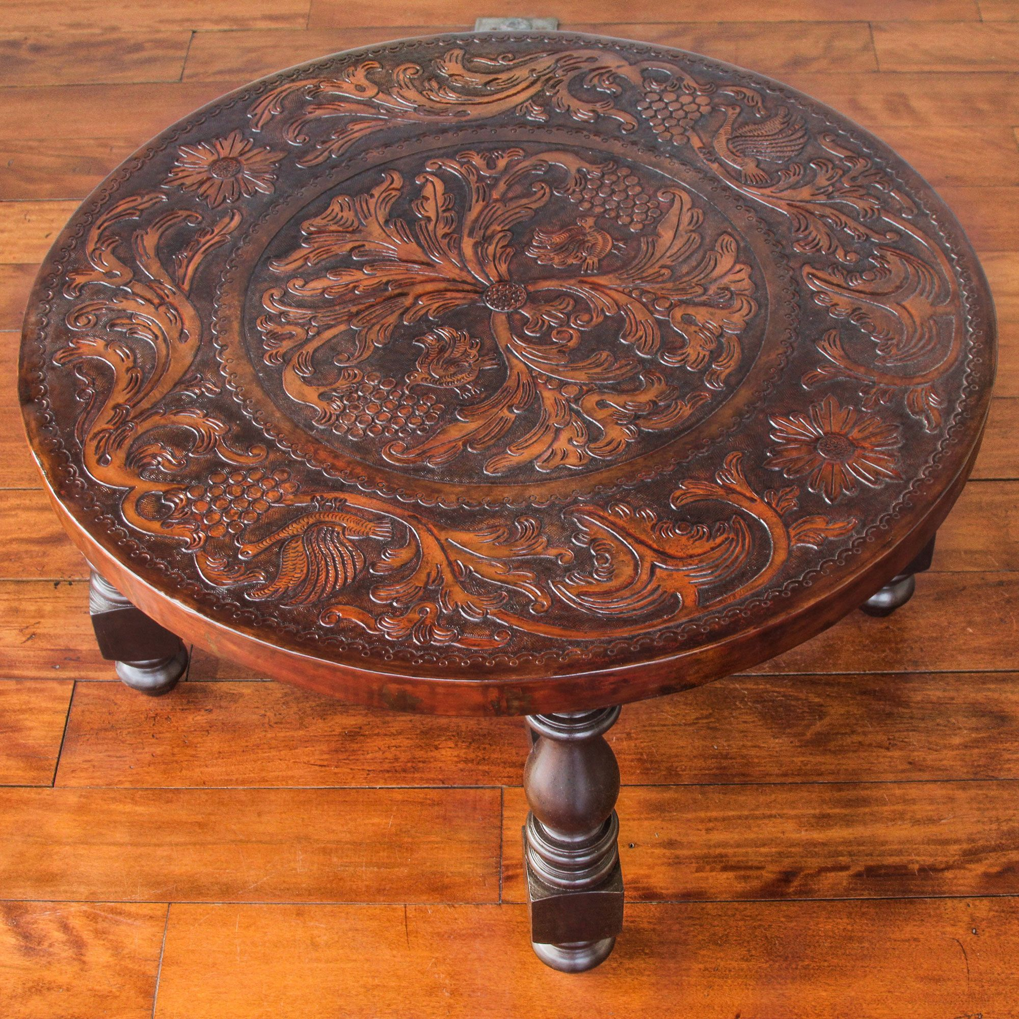 Tooled leather round wood coffee table 31 inch diameter vineyard tooled leather round wood coffee table 31 inch diameter vineyard birds novica geotapseo Image collections