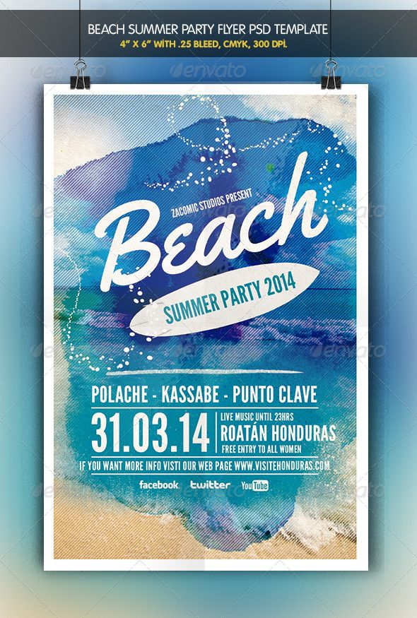 Beach Party  Flyer Template  Party Flyer Flyer Template And Template