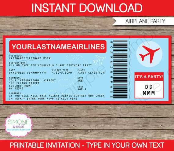 Airplane Birthday Party Invitation Printable By SIMONEmadeit Oh - Airplane birthday invitation template