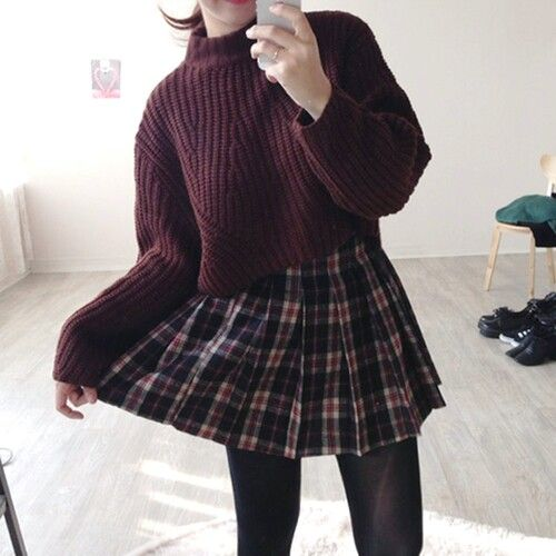 This is an ideal outfit for me , cute sweater and skirt