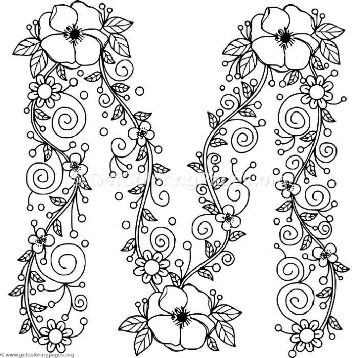 Floral Alphabet Letter M Coloring Pages Boyama Sayfalari Nakis Desenleri Desenler