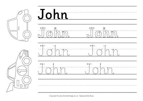 John Handwriting Worksheet Handwriting Worksheets Name Tracing Worksheets Worksheets