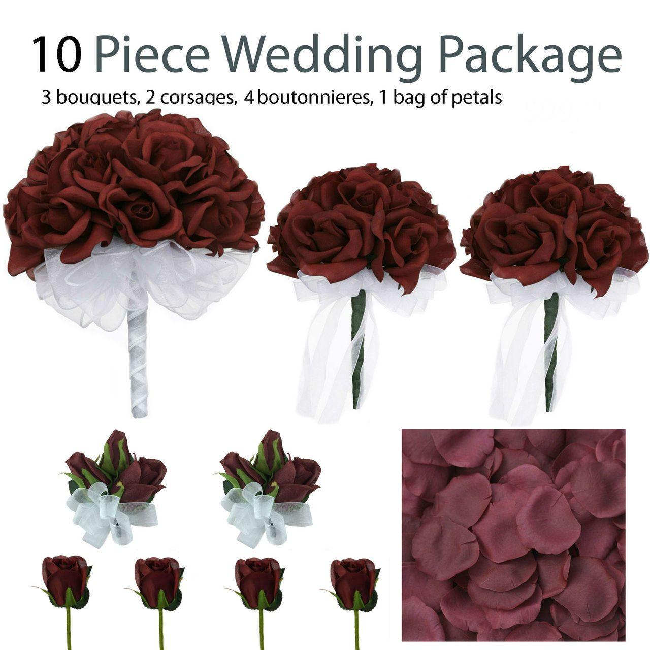 10 Piece Burgundy Silk Wedding Flower Package Burgundy Rose Silk