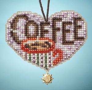 Mill Hill Cross Stitch Bead Kit - Charmed Ornament I Love Series - Love Coffee