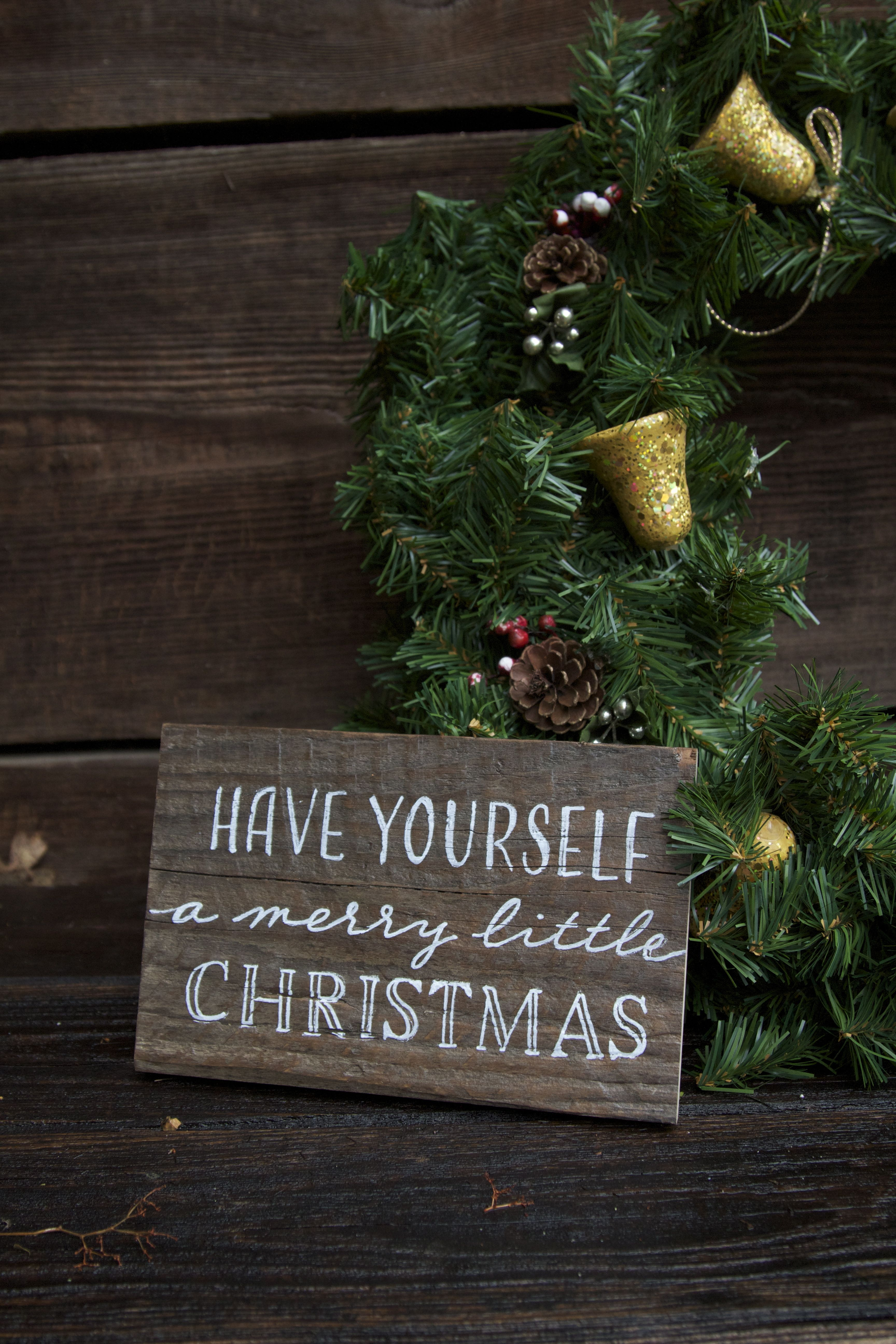 Have yourself a merry little Christmas reclaimed wood Holiday sign. Custom hand painted.