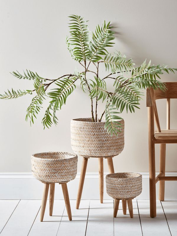 New Three Bamboo Standing Planters Bamb Planters - Home Accessories