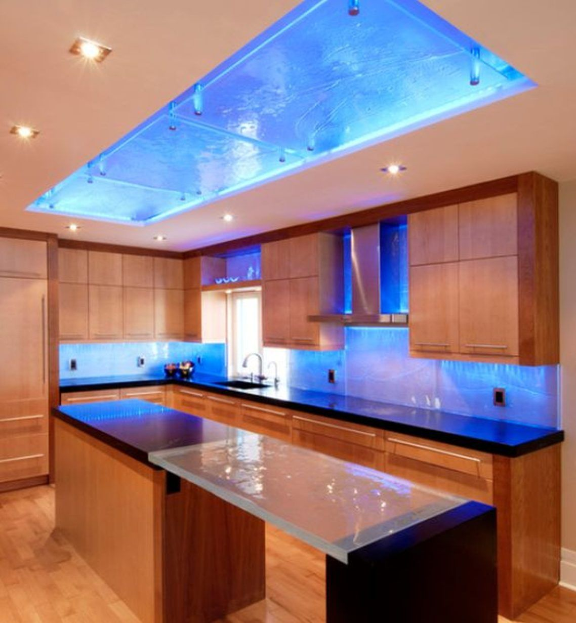 Cool Kitchen Recessed Lighting Design Ideas: Very Cool Colored Cove Lighting Above The Kitchen Island