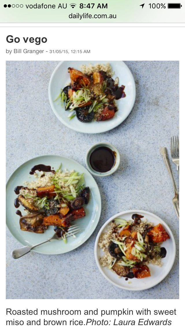 Roast vegetables with brown rice & miso paste