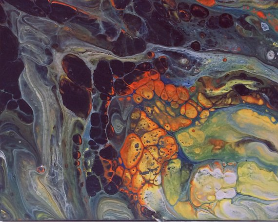 The Arsonist - Fluid Abstract Acrylic Pour Painting on 5 25