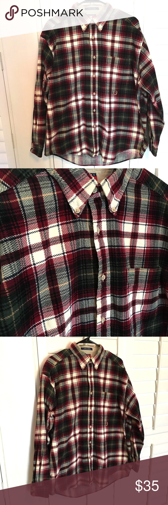2aaebb55a Size L Approx Measurements: Chest 51 Sleeves 24 Length 34 E213 Tommy  Hilfiger Shirts Casual Button Down Shirts. Vintage Tommy Hilfiger Red Plaid  Corduroy ...