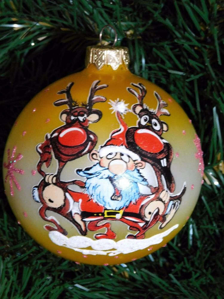 Modern Ukrainian Christmas Ornament Tree Decoration Glass Ball - Santa and  Deers - Details About Modern Ukrainian Christmas Ornament Tree Decoration