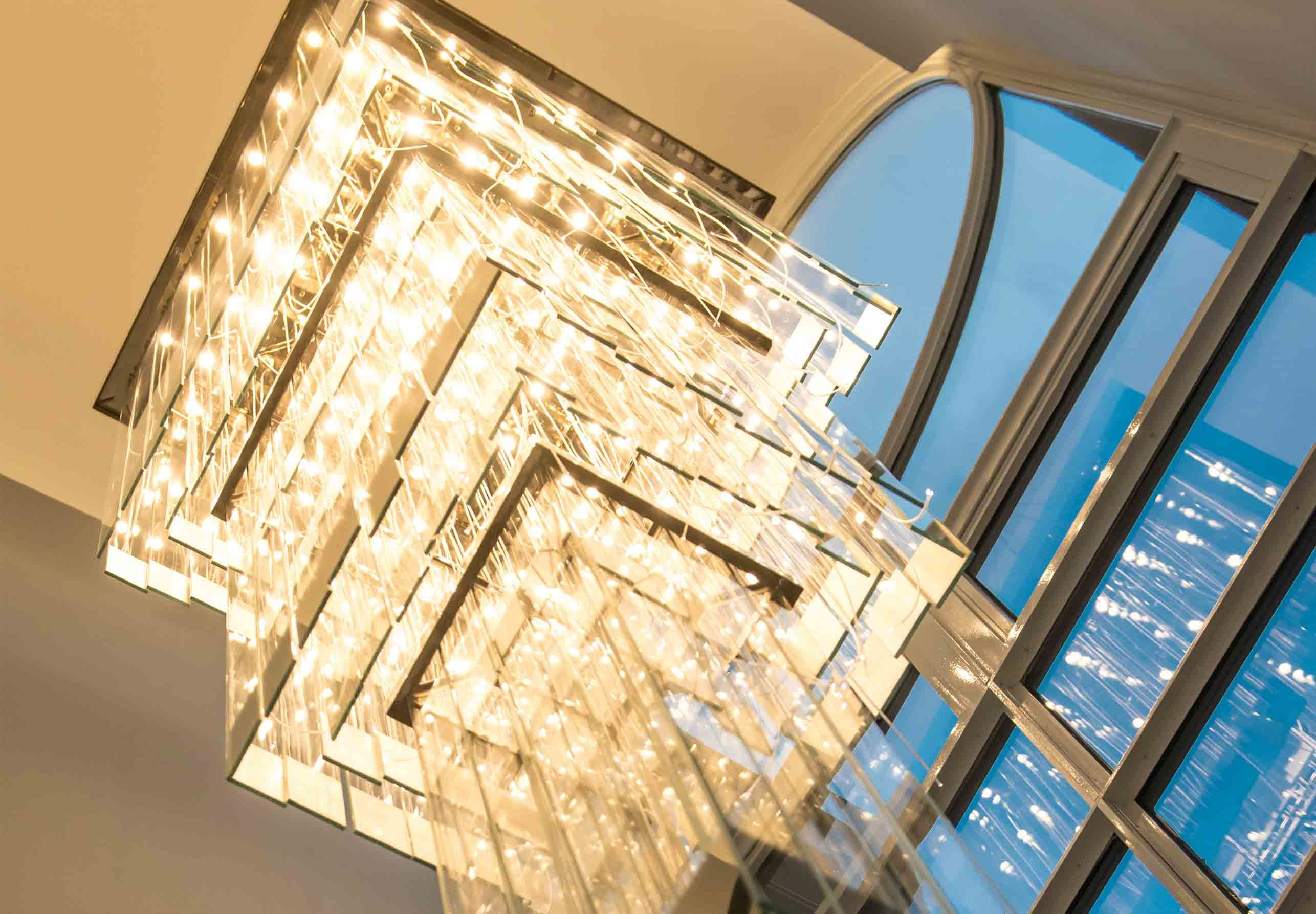 Nulty Bespoke Residential Square Tiered Layered Chandelier High