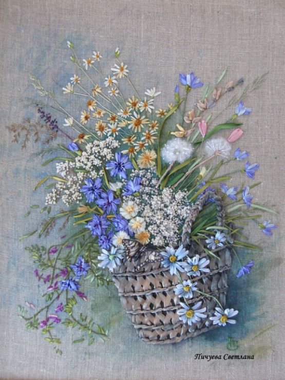 Simmer Flowers In A Basket Ribbonembroidery 2