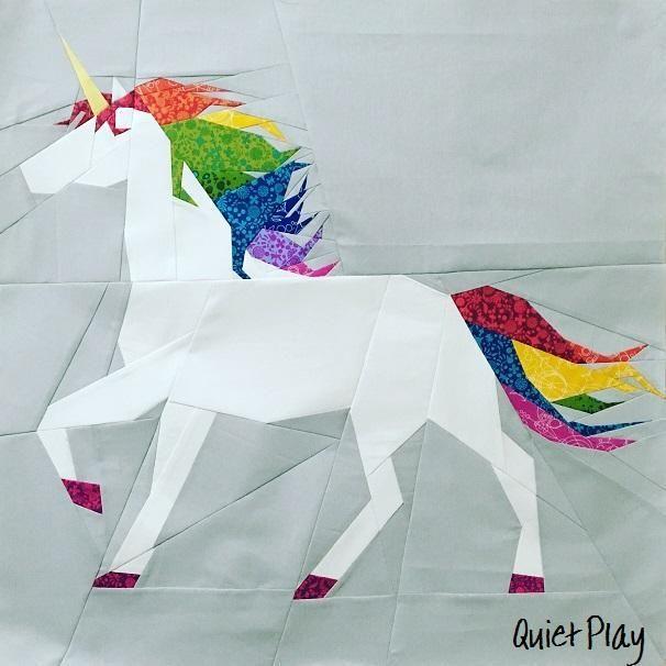 Unicorn Paper Pieced Pattern A4 Size | Nähen