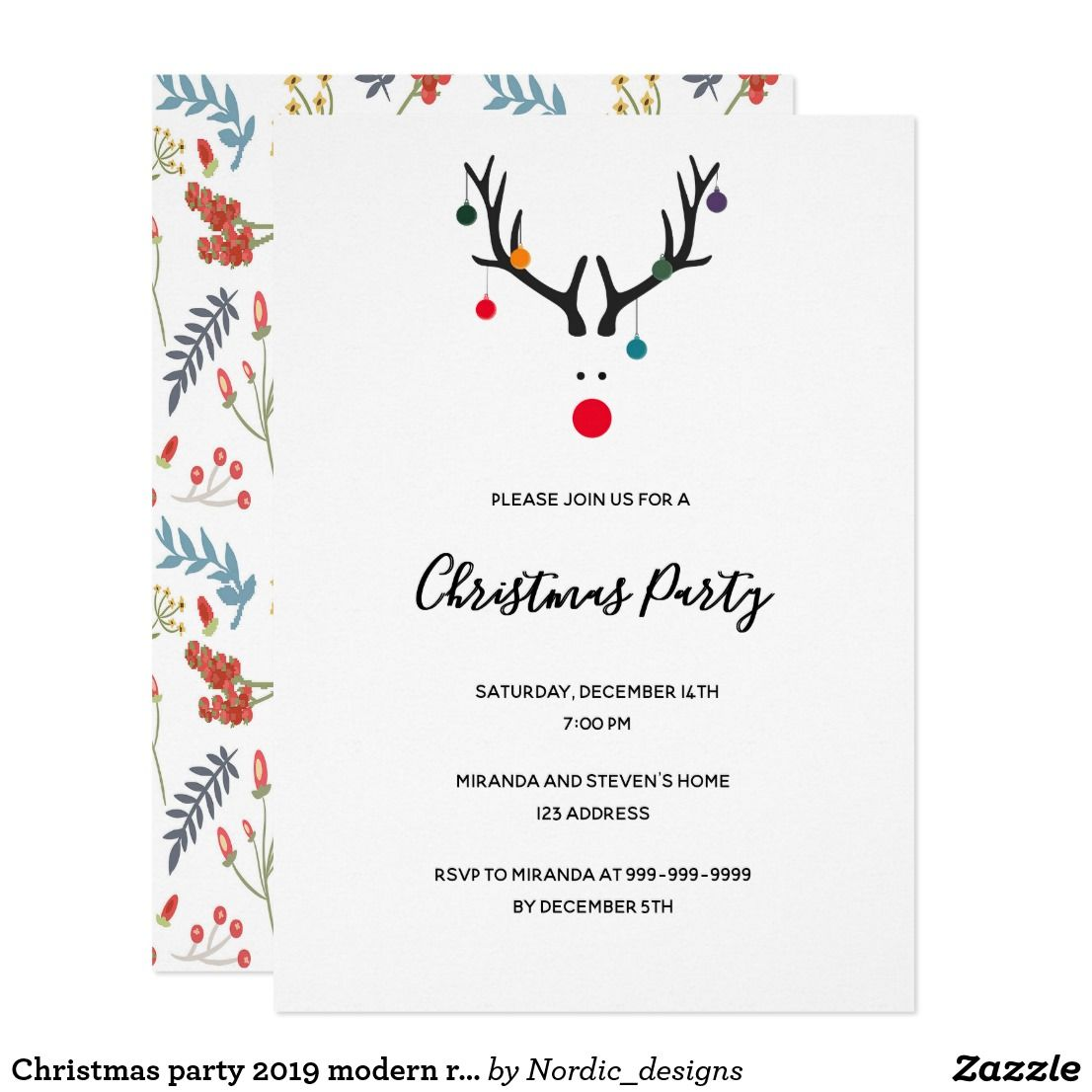 Christmas party 2020 modern reindeer white red invitation