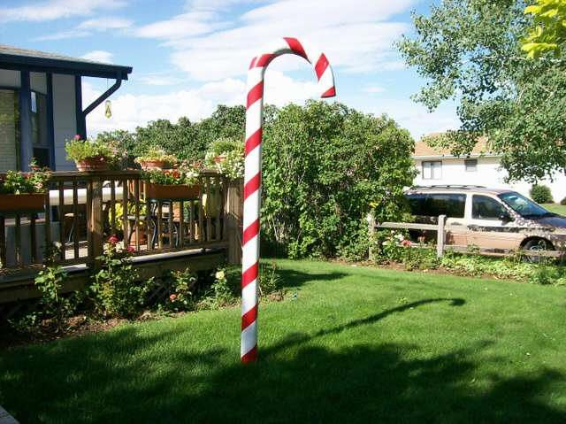 Large Candy Cane Decorations Outdoors Making Candy Canes From 10'x4' Pvc Pipe  Creating Christmas