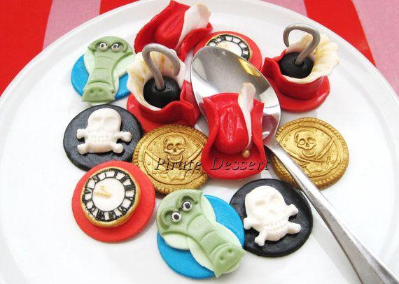 Edible CAPTAIN HOOK Cupcake toppers  -Fondant cake decorations- Peter Pan Cupcakes -  (12 pieces)