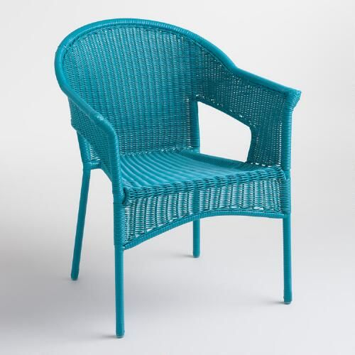 One Of My Favorite Discoveries At Worldmarket Com Surf Blue All Weather Wicker Stacking Tub C With Images Blue Patio Furniture Affordable Outdoor Furniture Outdoor Chairs