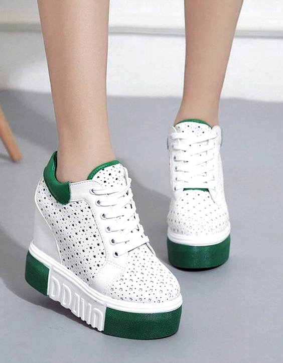 Yesil Platform Yuksek Taban Ayakkabi Sk23879 En 2020 Zapatos De Chicas Zapatos Mujer Zapatos De Moda
