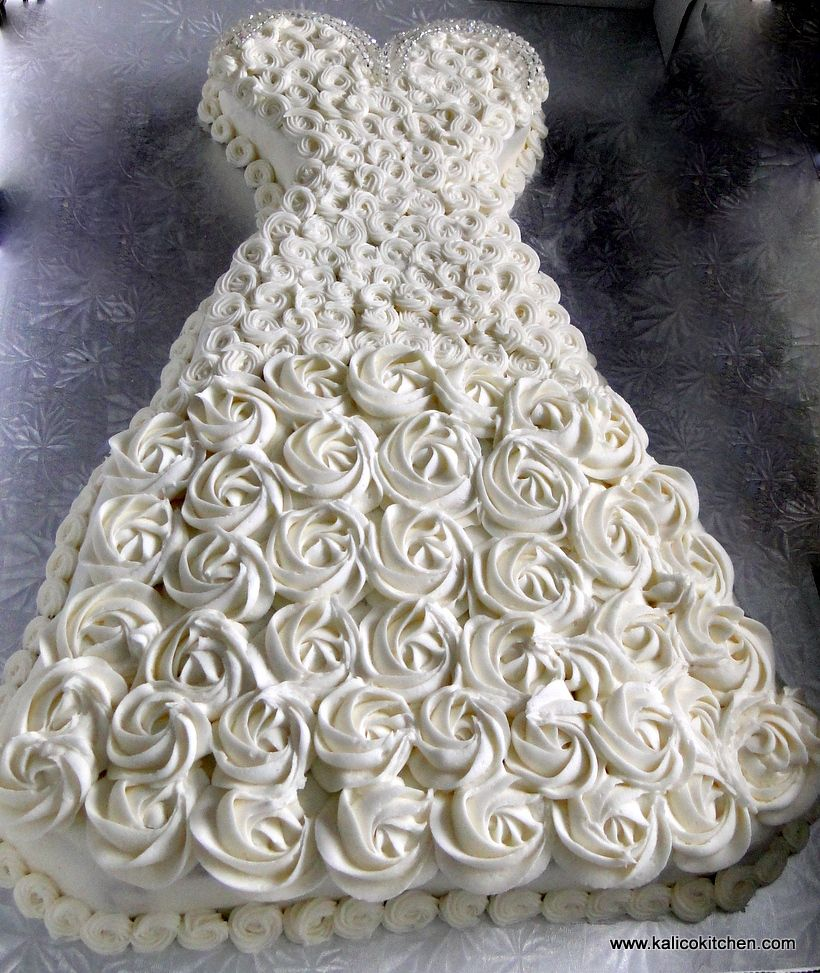 Wedding Dresses Ideas Pinterest: Bridal Shower Cakes- Bridal Gown With White Rosettes And