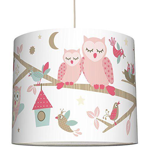 anna wand lampenschirm funny forest girls schirm f r kinder baby lampe mit eulen v geln und. Black Bedroom Furniture Sets. Home Design Ideas