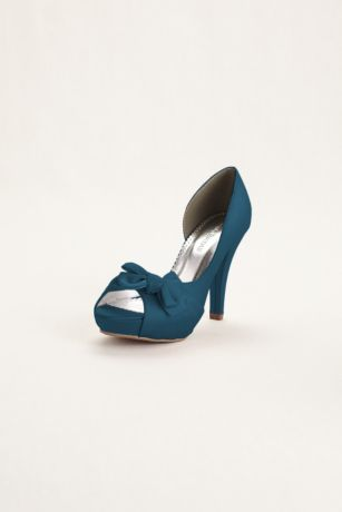 """Vibrant satin peep toe d'Orsay heel is a great addition to any closet!  Platform high heel iscut away at the side to reveal the arch of the foot.  Bow detail adds a touch of sweet tothis already chic shoe.  Available in a wide variety of colors.  4"""" heel, 1"""" platform, leather insole. Imported.  ***Please note, style is running a 1/2 size big."""