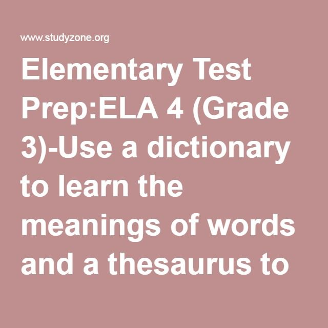 Elementary Test Prepela 4 Grade 3 Use A Dictionary To Learn The