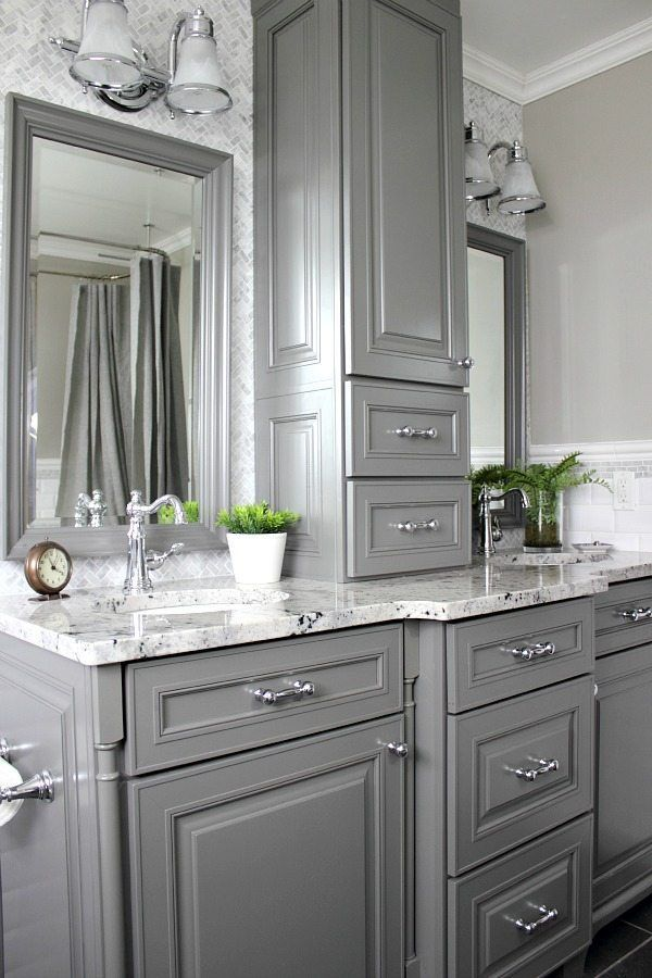 Custom Cabinet Built In White Will Anchor To Wall Create Separate His Her Sink Area