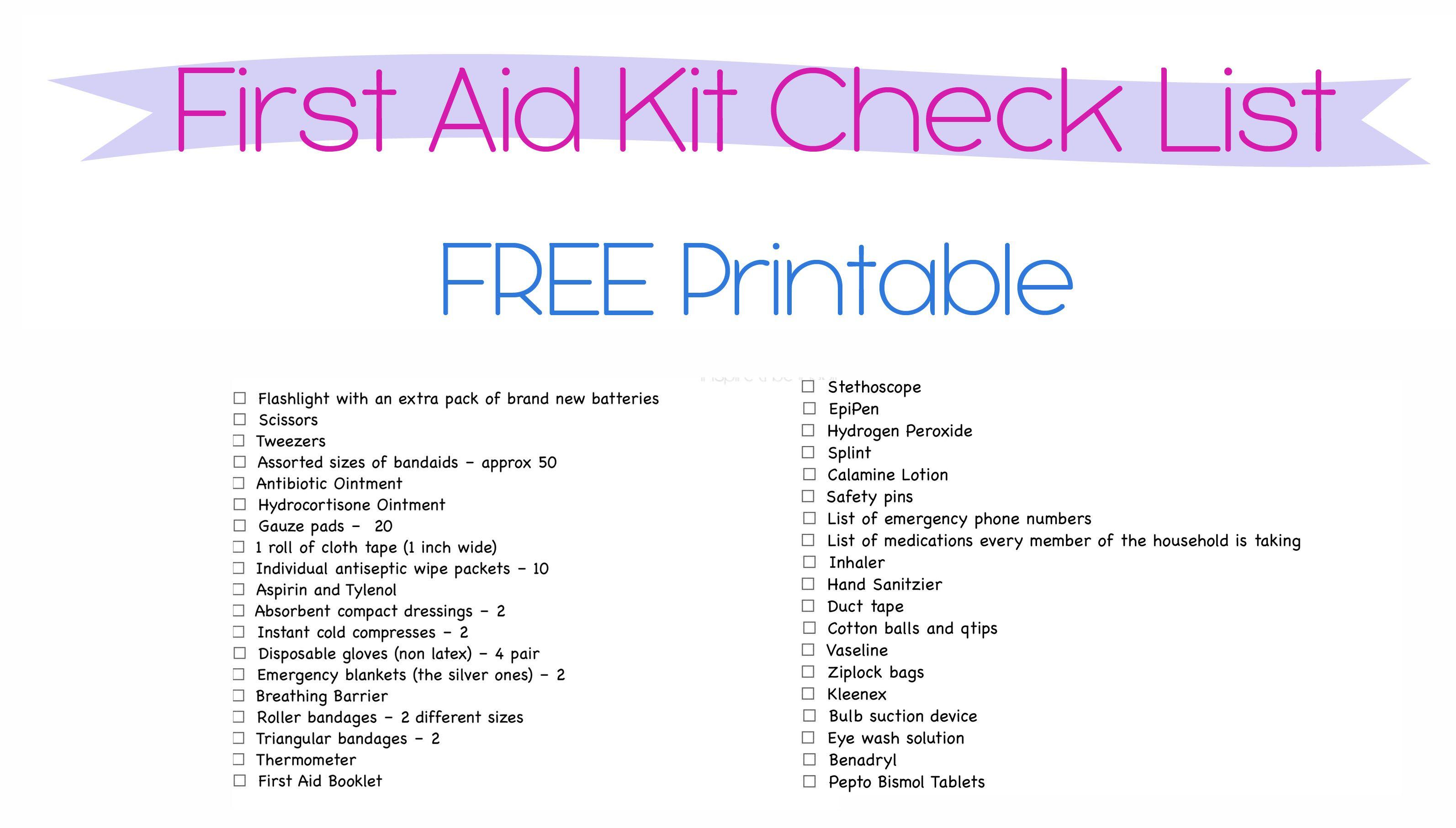 Organization Challenge Day 4 First Aid First Aid Kit Checklist Checklist