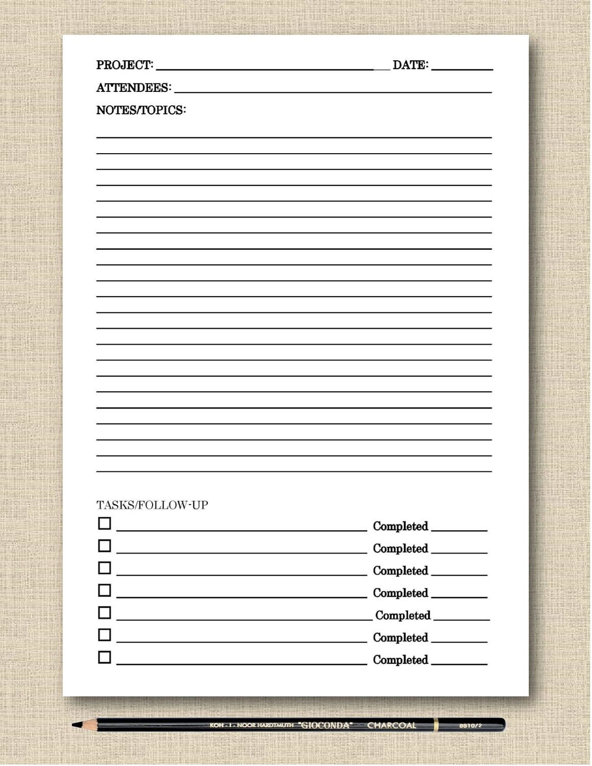 LifeS Lists Printable Meeting Notes Black  White Printable