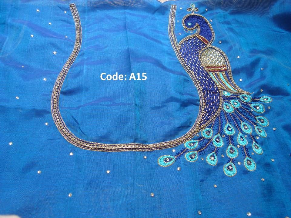 One Side Peacock Thread Work Kanniya Aari Works