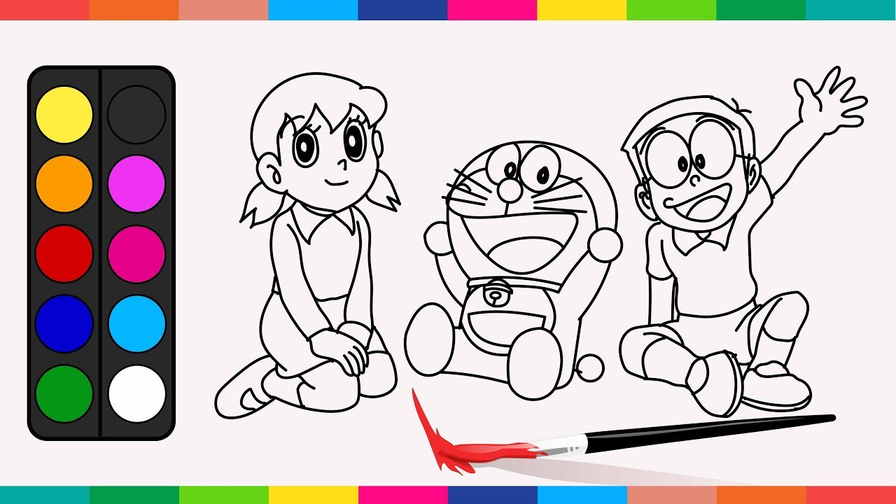 Drawing Coloring Doraemon Nobita Shizuka With Their Original Colour Coloring Books Love Coloring Pages Drawing Lessons For Kids