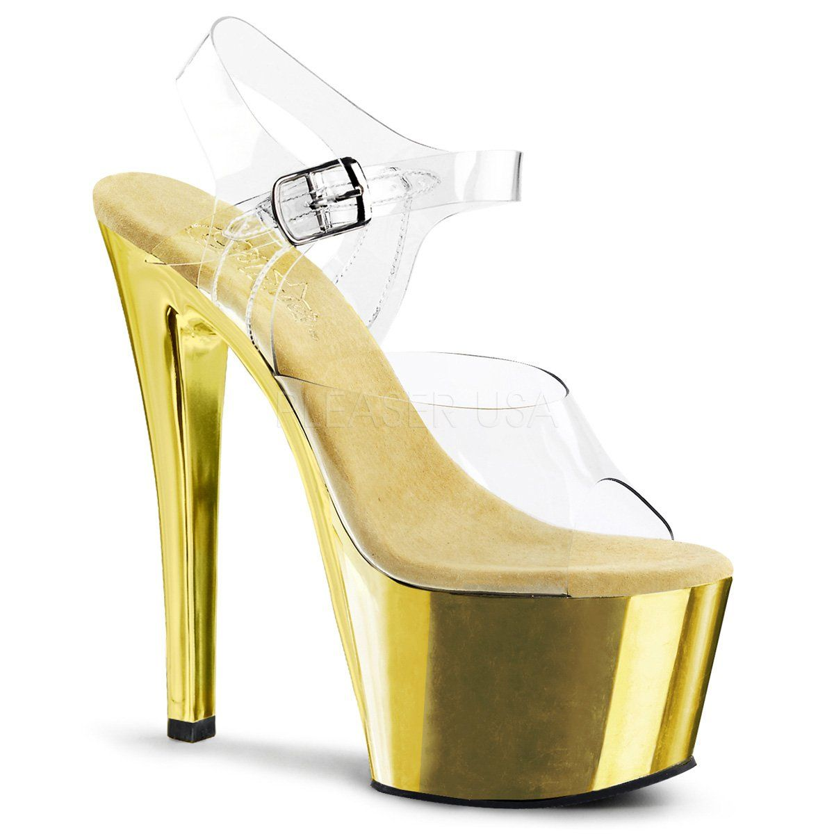 cd924903553 Pleaser - SKY-308 - Clear Gold Chrome - Platforms (Exotic Dancing ...