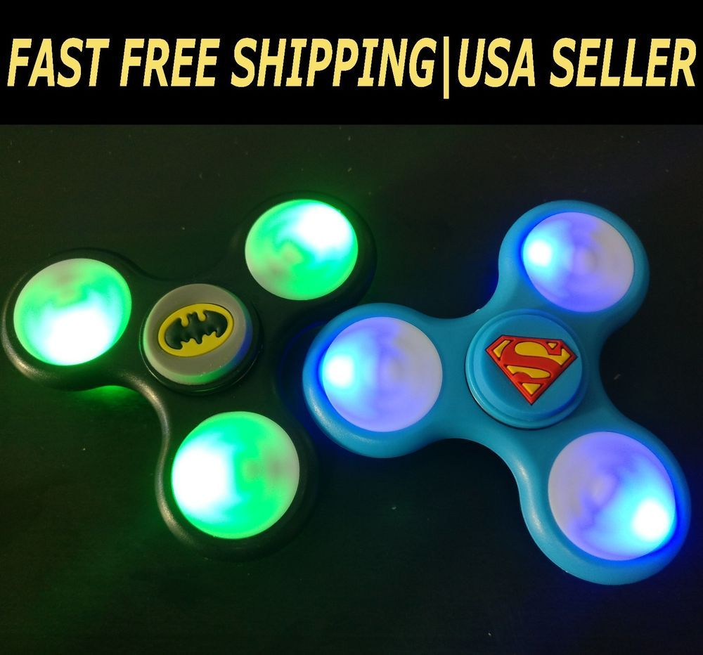 LED Light UP Batman green Fidget Hand Spinner Stress Reduce Finger Game Desk Toy