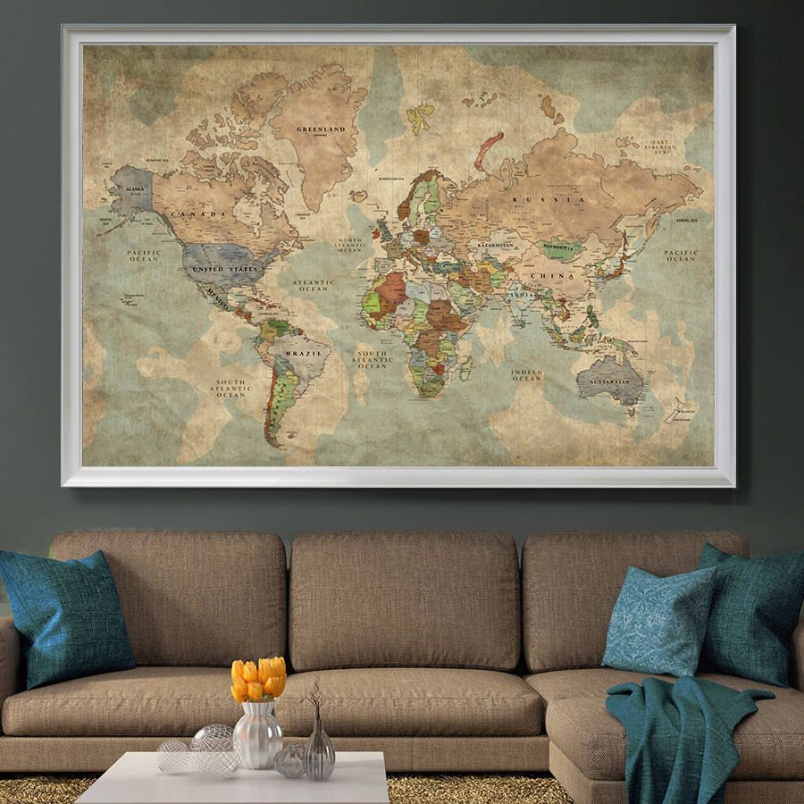 Push Pin Travel Map of World, Vintage Map, Push Pin Map, Push Pin ...