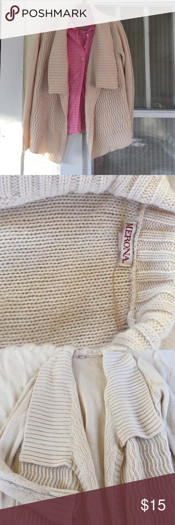 Comfy Merona sweeter in cream Merona knitted cream sweater, perfect for layering! Merona Sweaters Cardigans