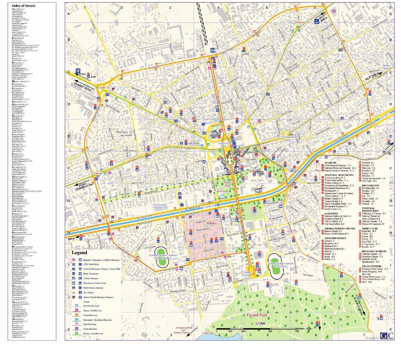 Tirana city map Albania Albania City maps and City