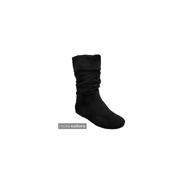 Journee Collection Women's 'Shelley-3' Slouch Mid-Calf Microsuede Boot (€40) ❤ liked on Polyvore featuring shoes, boots, slouch boots, calf length boots, wide boots, cuffed boots and flat sole boots