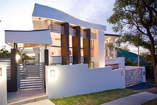 Modern Architecture Design White House With High Gate Part 53