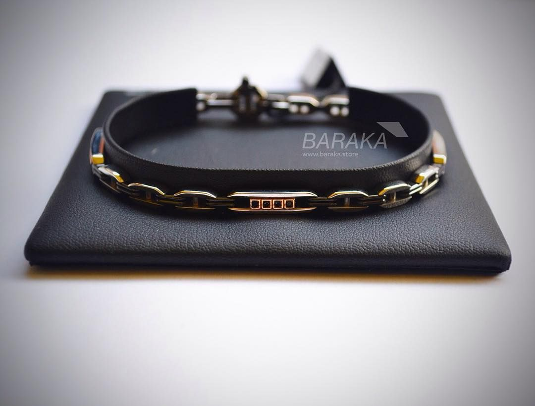 Мужской браслет Baraka из стали, розового золота с бриллиантами💎... baraka 6a5f6491205