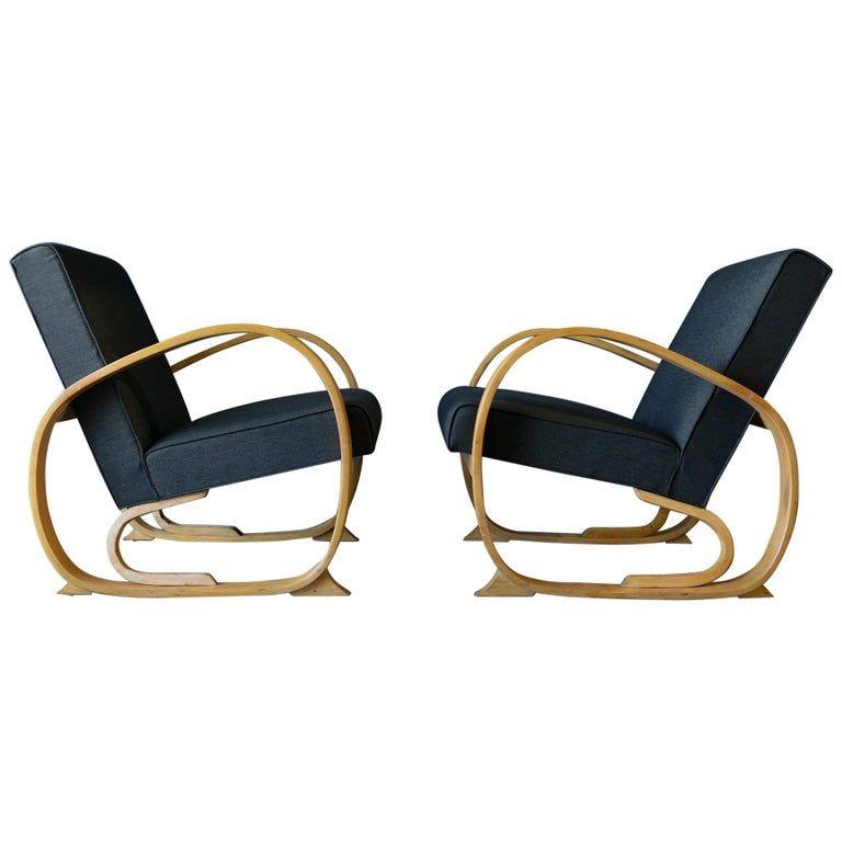 Pair Of Alvar Aalto Lounge Chairs - 1940S Club American Art Deco Bentwood