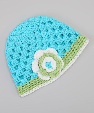 Take a look at this Blue & Green Flower Beanie by Crossroad on #zulily today!