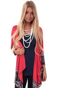 Dark Coral Cardigan with Tribal Detail