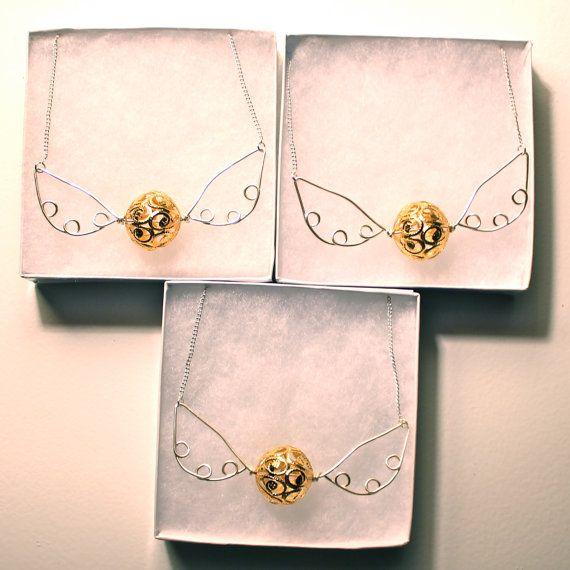 Golden Snitch Necklace Harry Potter Hogwarts by makingjiggy
