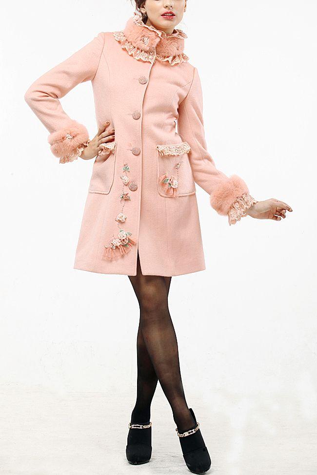 尤麦玫瑰帝国系列 羊绒大衣女装新款冬装獭兔毛领M2021-tmall.com天猫