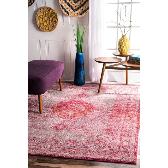 Garnett Pink Area Rug | Boho chic living room and Bungalow