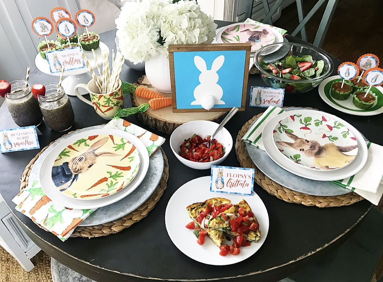 Bunny Breakfast 2018 Easter Brunch Recipes and Peter Rabbit Printables - Easter brunch food, Easter brunch, Brunch recipes, Brunch, Seasonal allergies, Pet allergies - Sharing some Easter brunch recipe ideas today! Over Spring Break the boys, Gramma and I went to see the new Peter Rabbit movie! Other than one controversial scene about food allergies (eek!), it was really cute, and my boys loved it! Each year we kick off Easter with a bunny breakfast for dinner, so with …