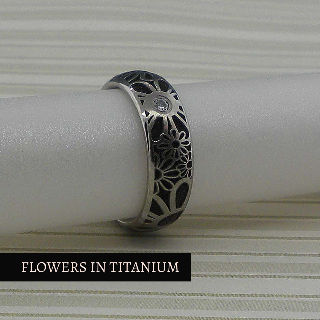 Flower Wedding Ring with Diamond in Titanium Made in the UK by GETi